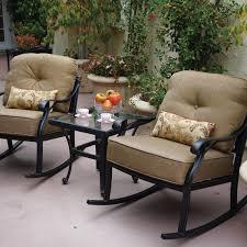 Darlee nassau 3 piece cast aluminum patio conversation seating set with rocking chairs bbq guys