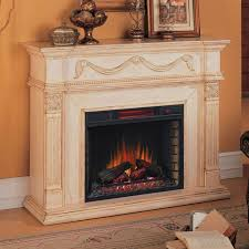 gossamer infrared electric fireplace mantel package in antique ivory 28wm184 t408