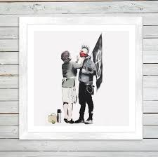 punk mum white frame canvas print banksy on banksy wall art prints with banksy punk mum framed art print whoartnow