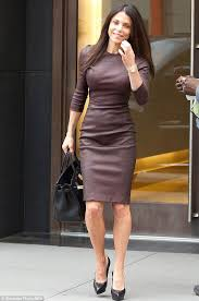 bethenny frankel squeezes into a tight leather dress as she leaves a meeting on monday ahead of recording her talk show in new york