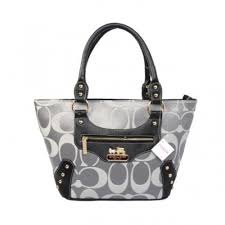 Coach Stud In Monogram Small Grey Totes BYQ