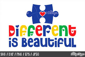 Download 364 puzzle pieces cliparts for free. Autism Awareness Different Is Beautiful Puzzle Piece Svg 213750 Cut Files Design Bundles
