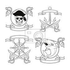 Obraz Lebka Meč žralok Kotva Kormidlo Stuha Karikatura Pirátské Tetování