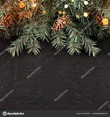 Christmas Branches With Lights Christmas Fir Branches Lights Dark Black Background Xmas