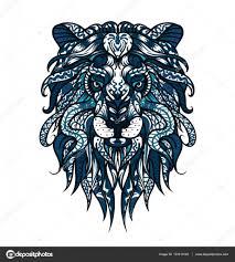 Vzorované Hlava Lva Africké Indická Totem Tetování Design