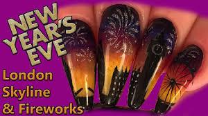 Nail Art - New Years Eve London Skyline & Fireworks Design ...