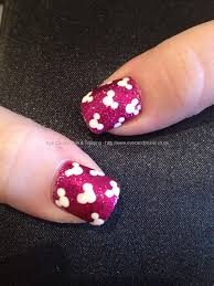 Minnie and Mickey Mouse Disney freehand nail art over acrylic ...