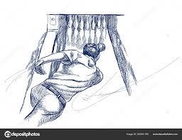 боулинг Sportman рисованной иллюстрации стиле ретро винтаж эскизы