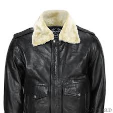 new mens real leather us air pilot er jacket removable fur collar black