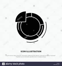Graph Circle Pie Chart Solid Glyph Icon Vector Stock