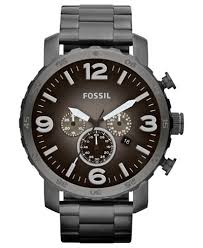 fossil men s chronograph nate smoke tone stainless steel bracelet fossil men s chronograph nate smoke tone stainless steel bracelet watch 50mm jr1437
