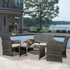 Amazon Goplus 4 PC Rattan Patio Furniture Set Garden Lawn