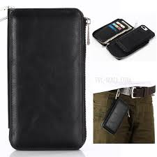 detachable 2 in 1 zippered multi slot wallet leather case with carabiner for