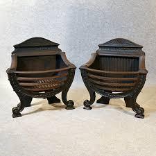 antique fire basket pair cast iron grate english victorian c1890