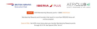 Amex Travel Points Chart Transfer Amex Membership Rewards To Avios With A 40 Bonus