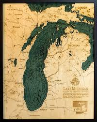 Lake Michigan Wood Carved Topographic Depth Chart Map