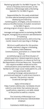 Resume For Mba Program Marketing Specialist For The Mba Program The University Of