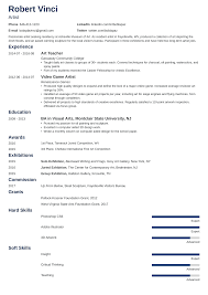 Artist Resume Template Fine Cv For The Creative Graphic Format