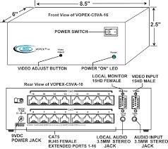 vga splitter multi point extender cat5 a v distribution amplifier vga video audio splitter extender via cat5 vopex c5va 16