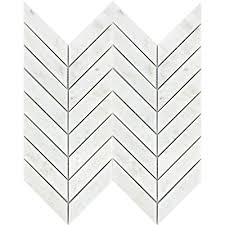 emser winter frost chevron 12 in x 12 in marble mesh mounted mosaic