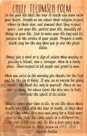 Tecumseh Quotes Simple Chief Tecumseh Poem Live Your Life Amazing PINS