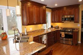 Dark Granite Kitchen Patterned Backsplash Ideas Kitchens Light Wood Cabinets Simple