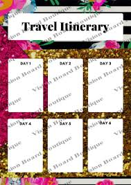 Itinerary Sheet Travel Planner Sheet Flower And Glitter Travel Itinerary
