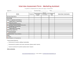 interview assessment form template interview record form