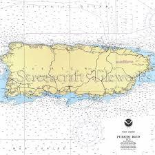 Puerto Rico Charts Islands Puerto Rico Nautical Chart Decor