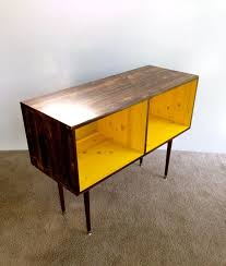 record player furniture. mid century modern record cabinet media table tv stand entertainment mcm yellow and chocolate player furniture