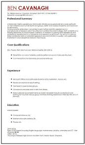example of a written cv application cv example for graduate students myperfectcv
