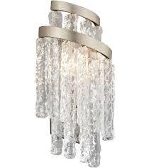 corbett lighting 243 12 mont blanc 2 light 8 inch modern silver leaf wall sconce