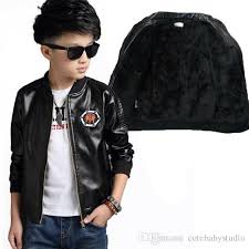 baby boys leather jacket kids coats children winter jackets plus velvet boys casual black windproof children fleece outerwear kids padded jacket black