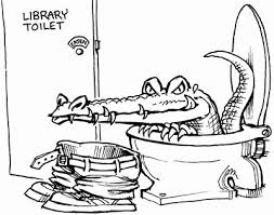 Image result for pictures of librarians and crocodiles cartoons