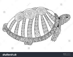 Drawing Turtle Coloring Page Coloring Book Stock Vector 460035979 ...