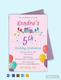 Word Template For Birthday Invitation Free 5th Birthday Invitation Template Word Psd