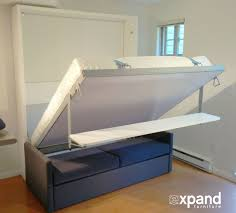 Murphy Bed Furniture Compatto Murphy Bed Over Sofa With Floating Shelf Expand Furniture