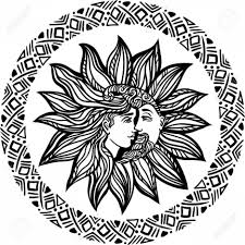 Photostock Vector Bohemian Sun And Moon Tattoo Design Illustration