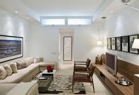 Narrow Living Room Layout Minimalist Furniture Long Living Cream Clasic  Sofa Front Wall Unit Wood Veneer