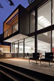 Canada Modern Lake House Beach House Designs Building Plans    Canada Modern Lake House Beach House Designs Building Plans Veranda With Black Chairs Wooden Floors And Modern Stainless Steel Grill Small Home Contemporary