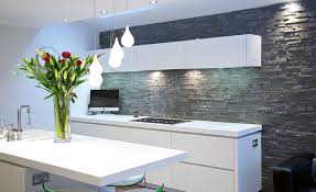 grey natural stone bathroom tiles. stacked stone backsplash with white floating cabinet and modern glass guard protector above stove grey natural bathroom tiles
