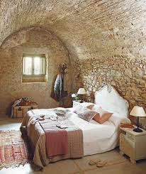 bedroom: Natural Rock Wall For Rustic Bedroom Ideas With Simple Bed Side  Cute Hanger Closed
