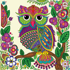 Owl Coloring Pages From Stress Relief Adult Coloring Color Your