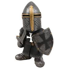 Mojoyce Knight Gnome Guard Figurine Mini Medieval Armor ...
