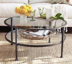 coffee table pottery barn round glass