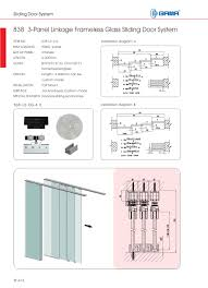 838 l3 3 panel linkage frameless glass sliding door system