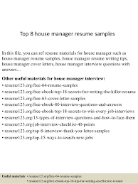 house manager resumes top 8 house manager resume samples 1 638 jpg cb 1429946380