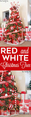 Beautifully decorated red and white Christmas tree with candy cane accents!