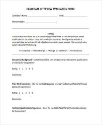 candidate assessment form sample candidate evaluation form threeroses us