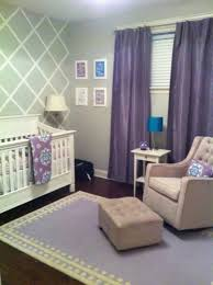 purple curtain and beige tufted armchair for amazing baby nursery ideas